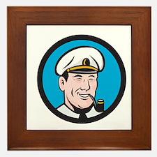 Smiling Sea Captain Smoking Pipe Circle Retro Fram