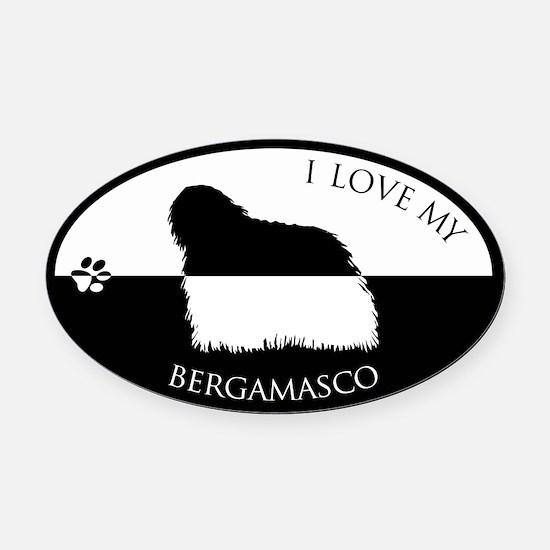 Cute Bergamasco Oval Car Magnet