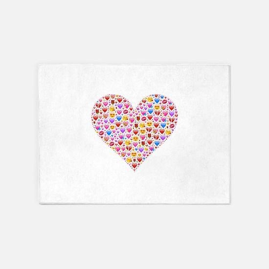 heart emoji 5'x7'Area Rug