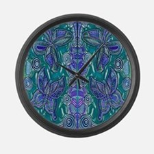 Butterfly Dreaming Blue Large Wall Clock