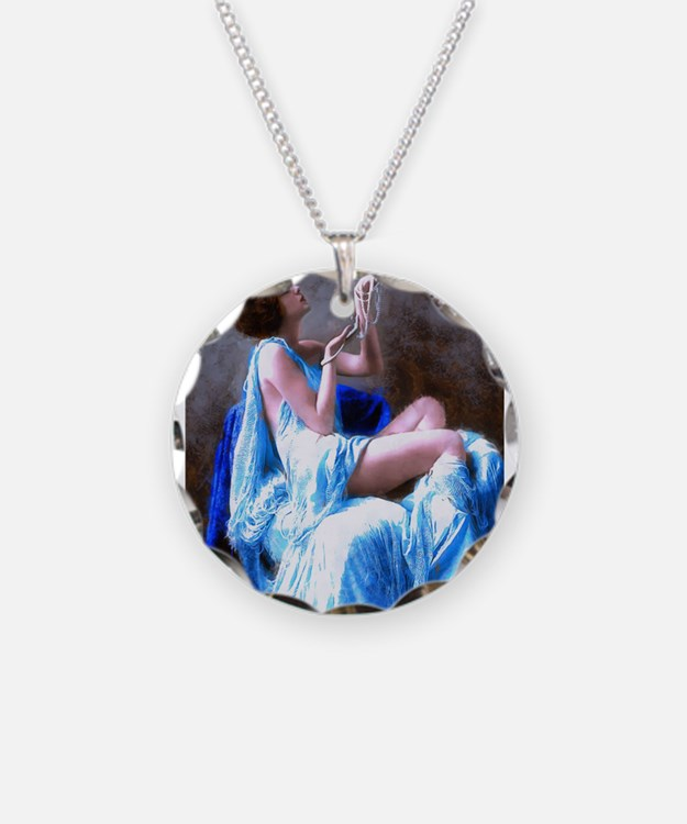Burlesque Girl with Pearls Necklace