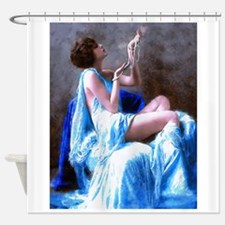 Burlesque Girl with Pearls Shower Curtain