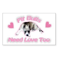 RK Pit Bull Love Rectangle Decal