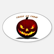 Scary Halloween Pumpkin Oval Decal