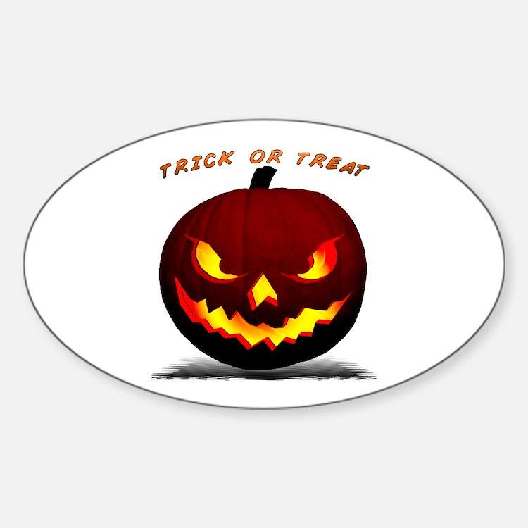 Scary Halloween Pumpkin Oval Decal