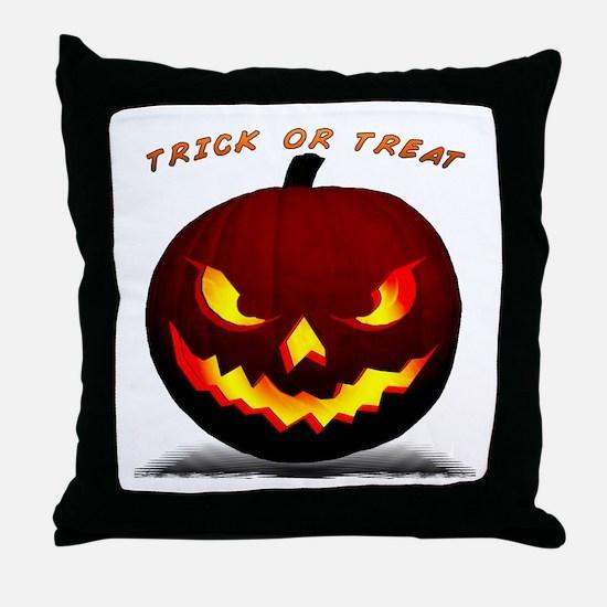 Scary Halloween Pumpkin Throw Pillow