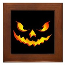 Halloween Pumpkin Face Framed Tile