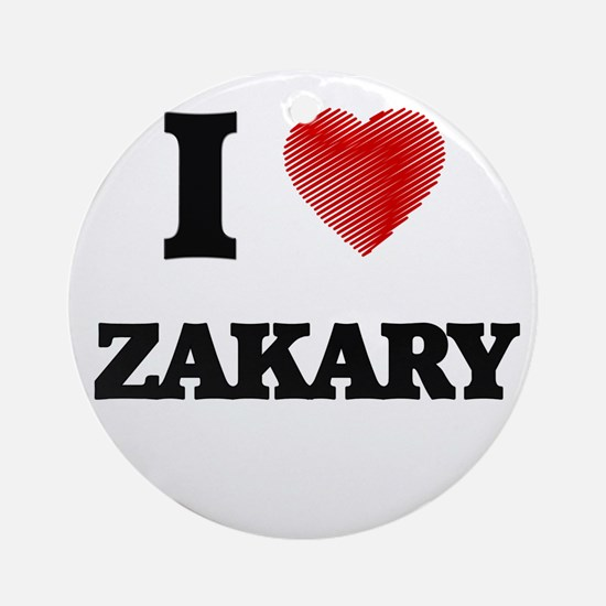 I love Zakary Round Ornament