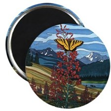 Canadian Landscape Art Butterfly Magnet