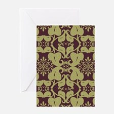 Ornate Floral Burgundy And Gold Pat Greeting Cards