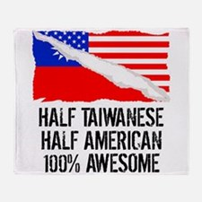 Half Taiwanese Half American Awesome Throw Blanket