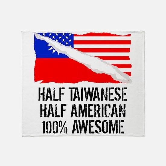 Half Taiwanese Half American Awesome Throw Blanket