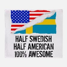 Half Swedish Half American Awesome Throw Blanket