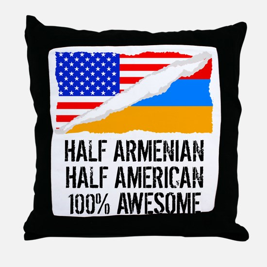 Half Armenian Half American Awesome Throw Pillow