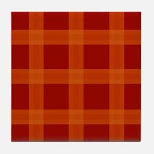 Red Orange Plaid Pattern Tile Coaster