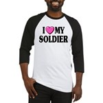 I Love (pink heart) My Soldier Baseball Jersey