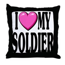 I Love (pink heart) My Soldier Throw Pillow