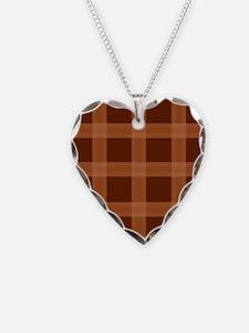 Plaid Orange Brown Pattern Necklace