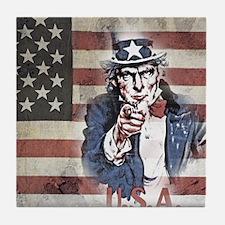 US Flag and Uncle Sam Tile Coaster