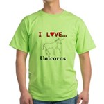 I Love Unicorns Green T-Shirt