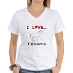 I Love Unicorns Women's V-Neck T-Shirt