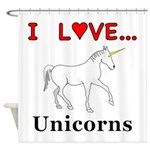 I Love Unicorns Shower Curtain
