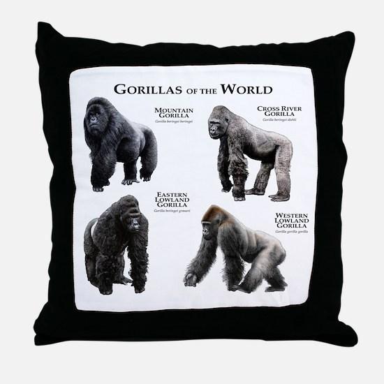 Gorillas of the World Throw Pillow