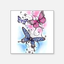 "Funny Butterfly Square Sticker 3"" x 3"""