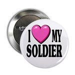 I Love (pink heart) My Soldier Button