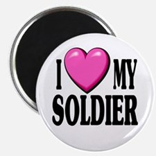 I Love (pink heart) My Soldier Magnet