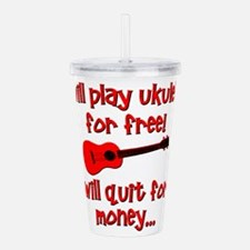 funny red ukulele Acrylic Double-wall Tumbler