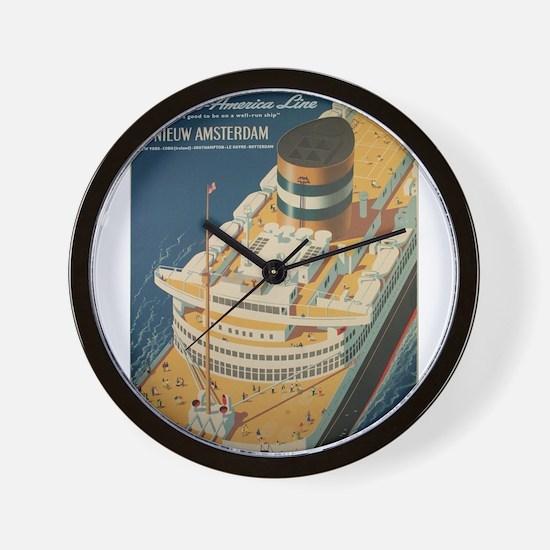 Vintage poster - Cruise ship Wall Clock