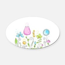 Spring Flowers Oval Car Magnet