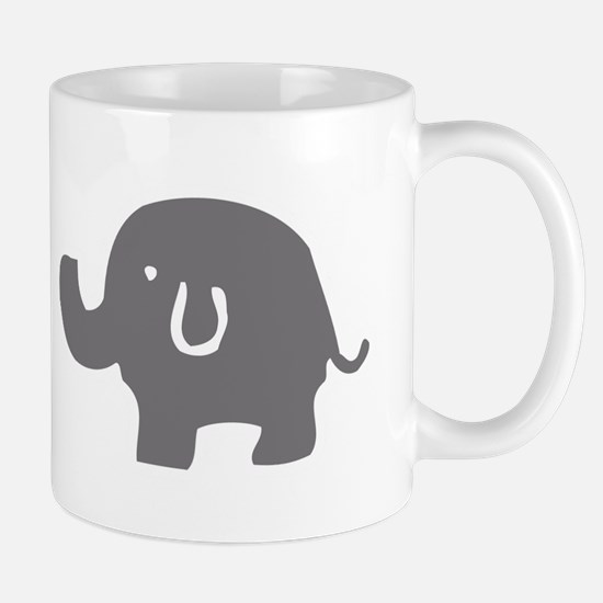 Cute Gray And White Elephant Mugs