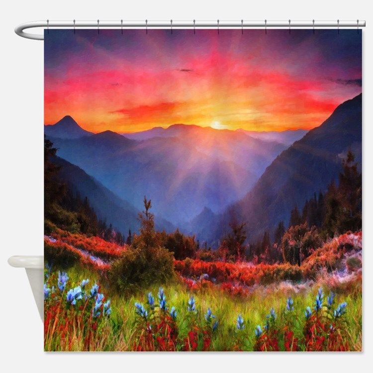 High Country Sunset Shower Curtain