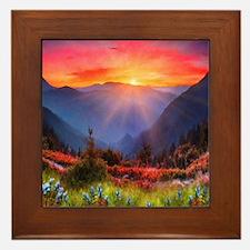 High Country Sunset Framed Tile