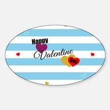 Cute Happy Valentine Day (Blue) Decal