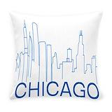 Unique chicago skyline Burlap Pillows