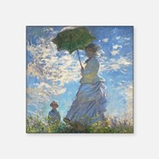 """Funny Monet woman with parasol Square Sticker 3"""" x 3"""""""
