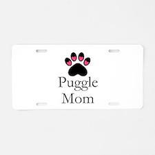 Puggle Dog Mom Paw Print Aluminum License Plate