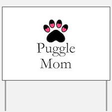 Puggle Dog Mom Paw Print Yard Sign