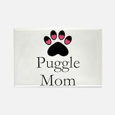 Puggle Dog Mom Paw Print Magnets