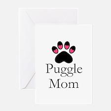 Puggle Dog Mom Paw Print Greeting Cards
