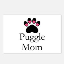 Puggle Dog Mom Paw Print Postcards (Package of 8)