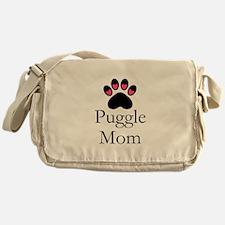 Puggle Dog Mom Paw Print Messenger Bag