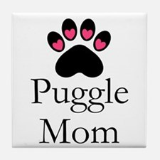 Puggle Dog Mom Paw Print Tile Coaster