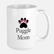 Puggle Dog Mom Paw Print Mugs