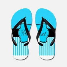 Personalizable Teal White Black Flip Flops