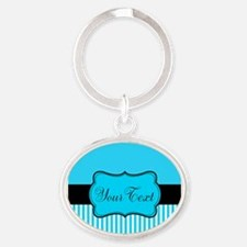 Personalizable Teal White Black Keychains