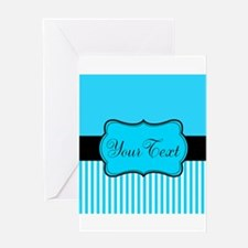 Personalizable Teal White Black Greeting Cards